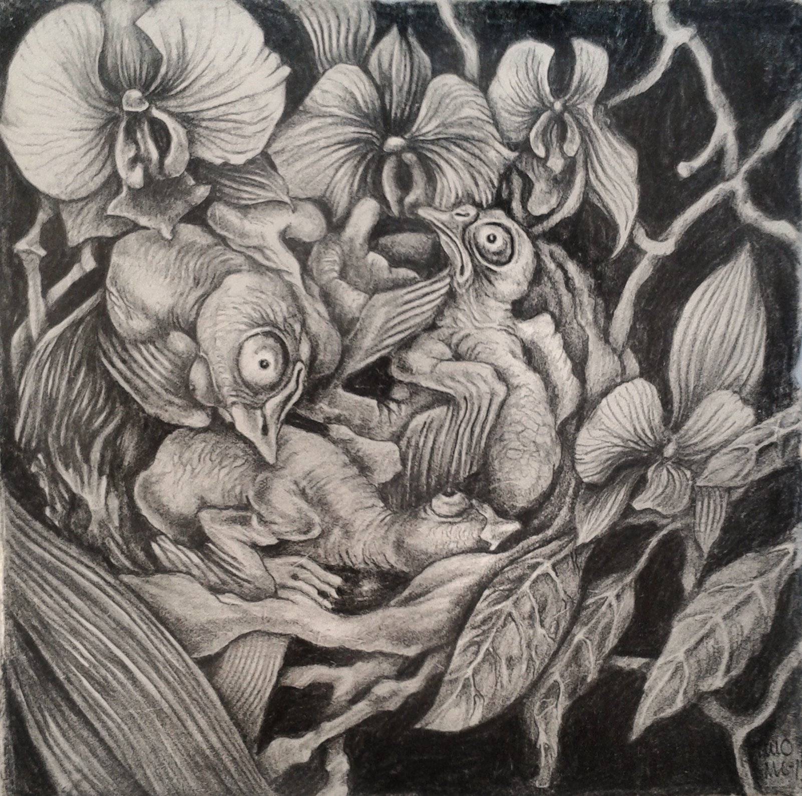 Chickens, orchids and pearleafs 20x20cm