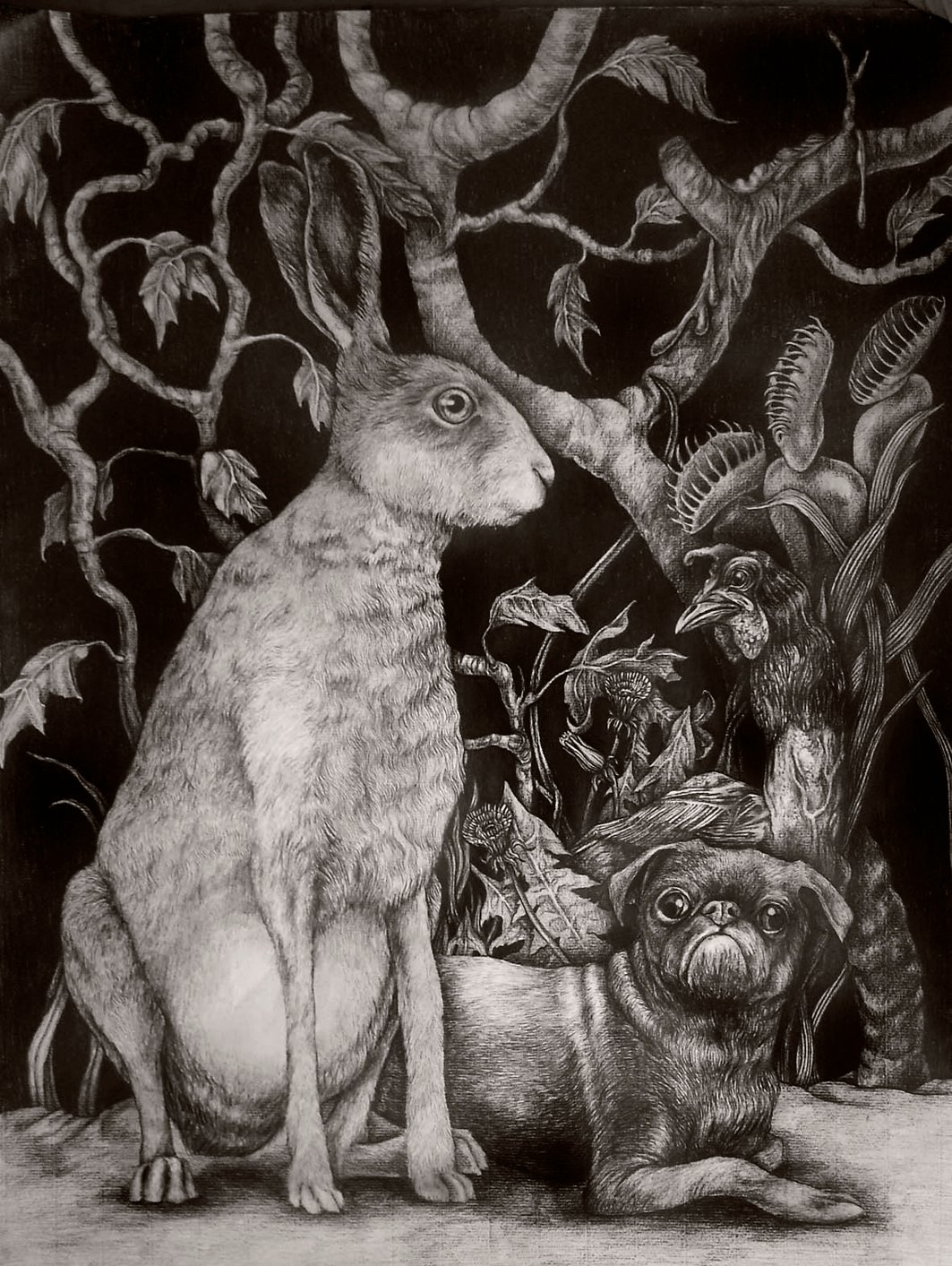 hare and dog 70x50cm