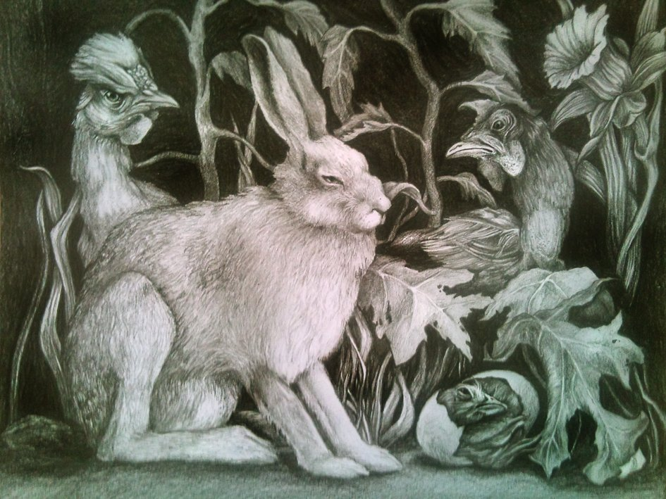 Rabbit, chickens and lilies (Easter) 30x40cm