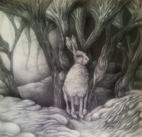 Hare in fungus forest 55x55cm