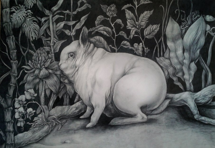 Hermelin rabbit, orchids and monstera 100x70cm