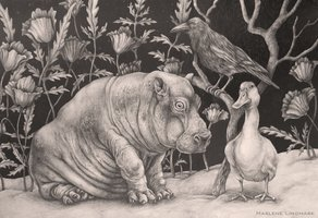 Hippo baby with crow and duck