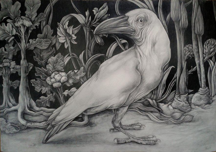 White Crow with broccoli and lilies 100x70cm